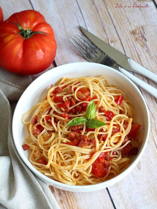 spaghettis au chorizo