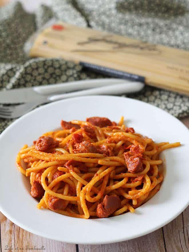 spaghettis aux poivrons, recette de spaghettis