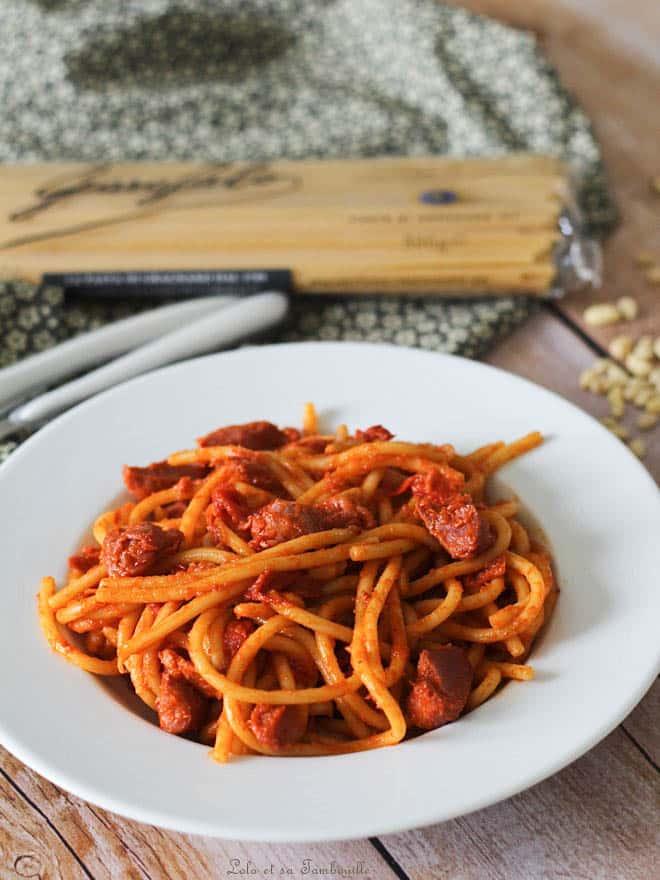spaghetti aux poivrons grillés avec gésiers