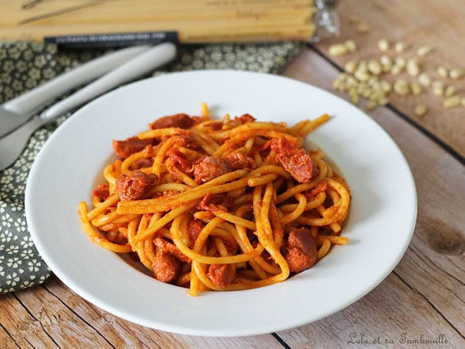 Spaghettis poivrons gésiers,spaghetti aux poivrons grillés,spaghettis aux poivrons