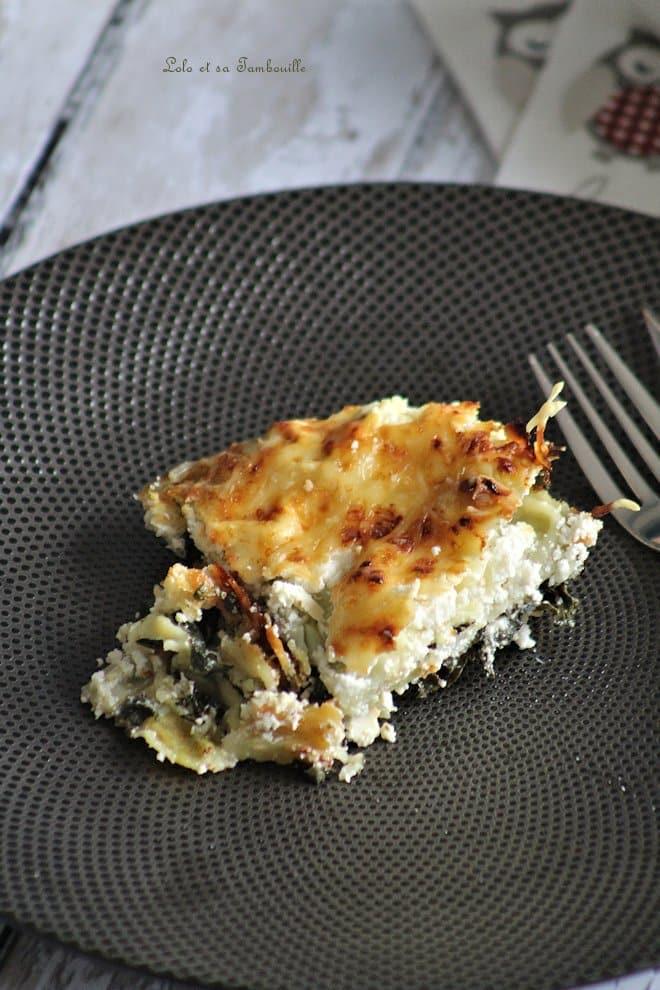 gratin de ravioles du Dauphiné avec épinards et chèvre frais