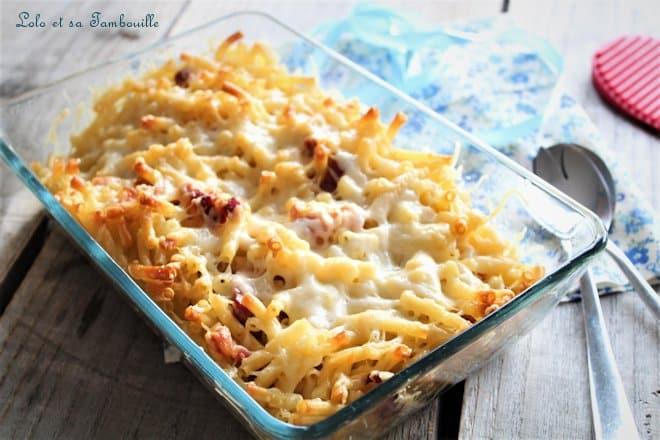 Gratin de pâtes aux lardons,gratin de pâtes aux lardons sans béchamel,gratin de pâtes aux lardons sans crème fraîche,gratin de pâtes aux lardons et fromage