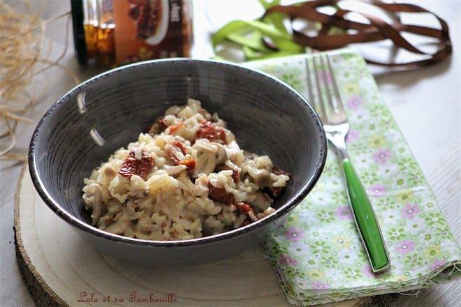 risotto aux champignons et poulet, risotto aux champignons