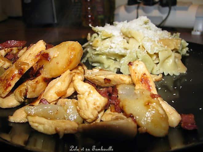 Aiguillettes de poulet aux poires