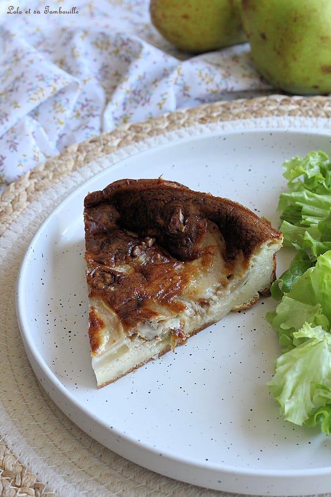 Clafoutis aux poires, roquefort & noix