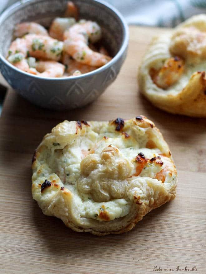 Feuilletés aux crevettes & fromage frais