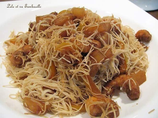 Wok de crevettes à l'ananas & vermicelles de riz