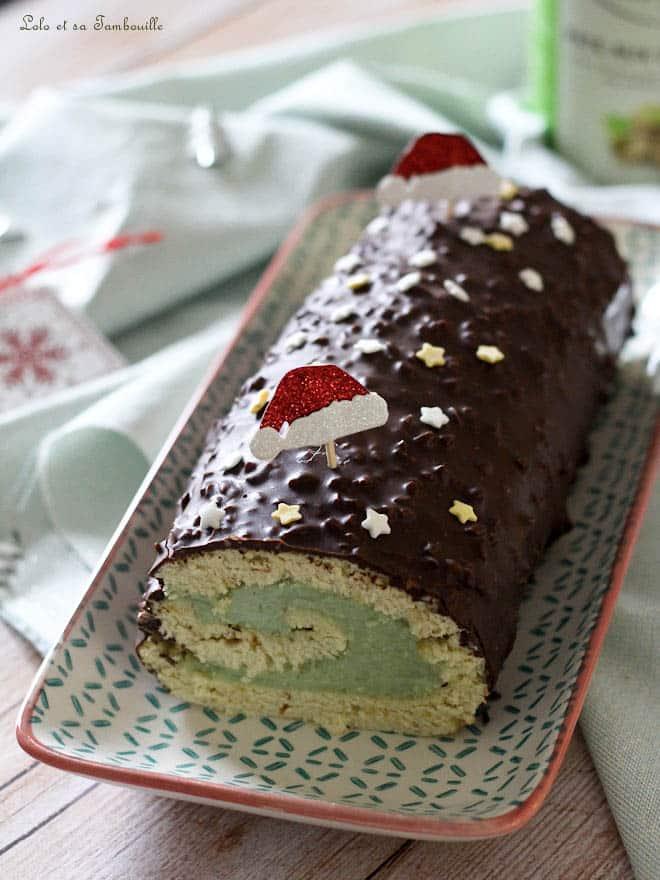Bûche pâtissière pistache & chocolat