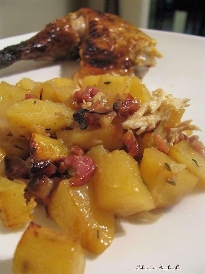 Poulet rôti & pommes de terre au vin blanc