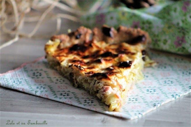 Tarte au fromage blanc, poireaux & bacon