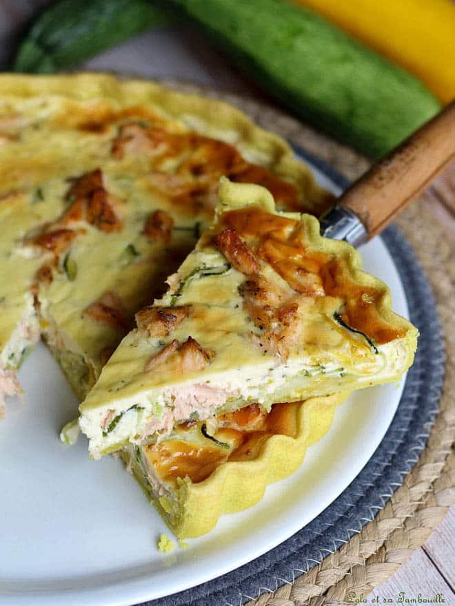 tarte courgettes saumon, recette de tarte