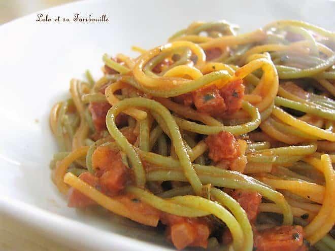 Spaghettis aux légumes & chorizo
