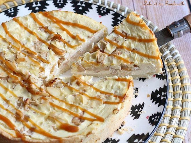 tarte aux pommes facon cheesecake,tarte aux pommes cheesecake,tarte cheesecake