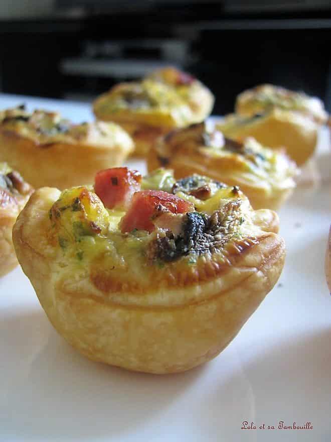 Pastéis de Nata salés aux champignons & dés de jambon