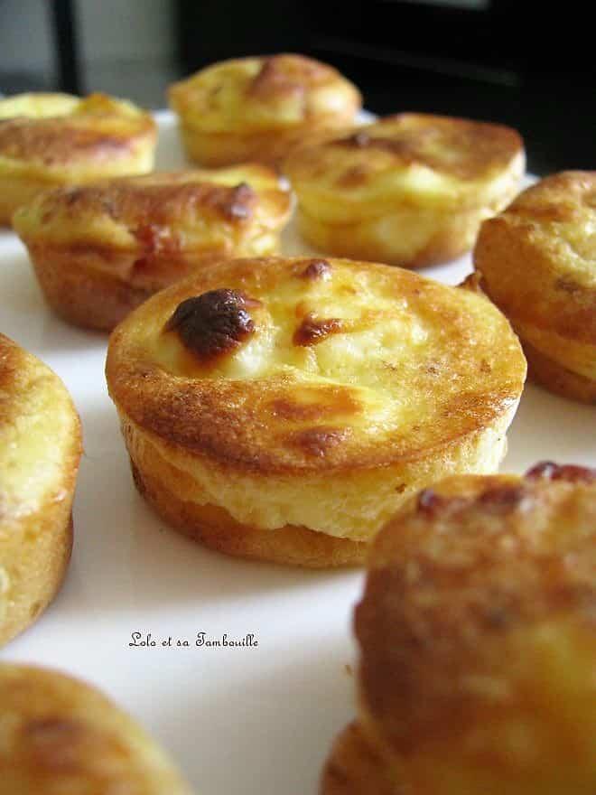 Mini clafoutis aux allumettes de lardons & fromage fondu