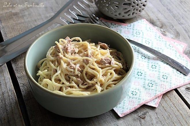 Spaghettis à la carbonara légère au thon