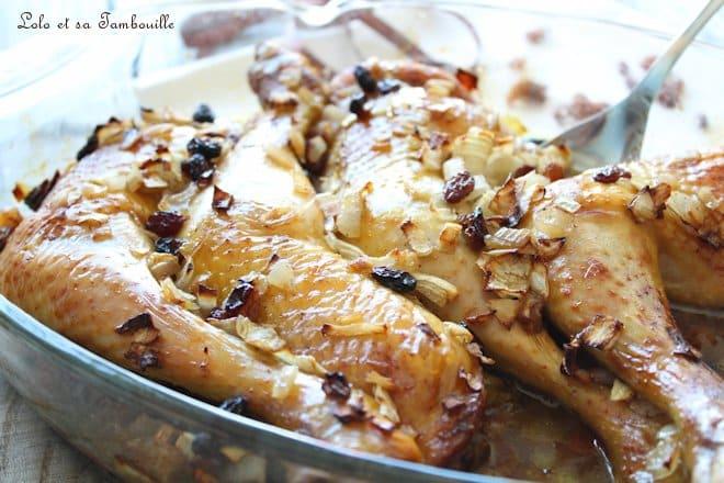 Cuisses de poulet au miel & raisins secs