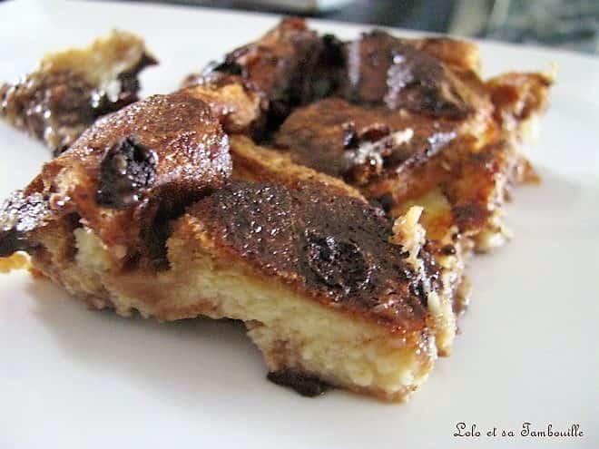 Pudding de brioche aux pépites de chocolat