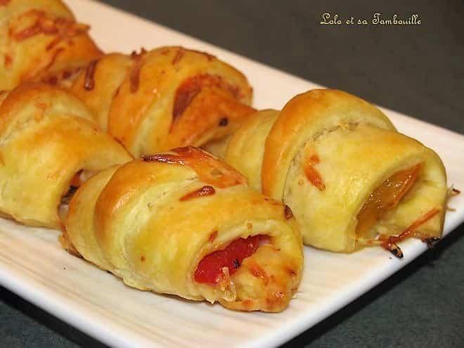 Croissants feuilletés au jambon & poivrons grillés