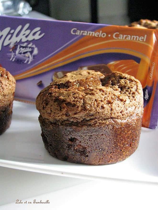 Muffins au chocolat caramel {coeur de spéculoos crunchy}