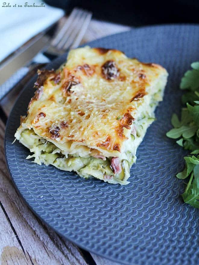 lasagnes, courgettes, lardons