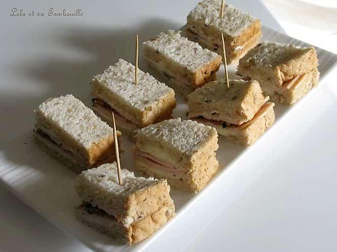 Mini sandwichs au jambon & aux noix