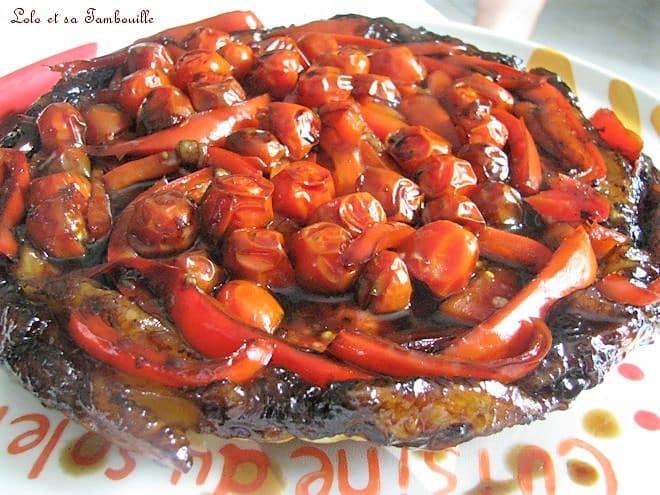 Tatin aux tomates cerises, poivron & caramel de vinaigre balsamiquev