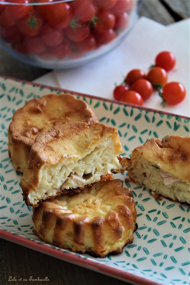 Quichettes sans pâte aux tomates, jambon & moutarde
