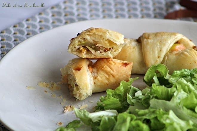 Maxi croissants aux poireaux, saumon fumé & parmesan
