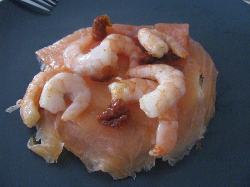 Blinis au saumon fumé & crevettes