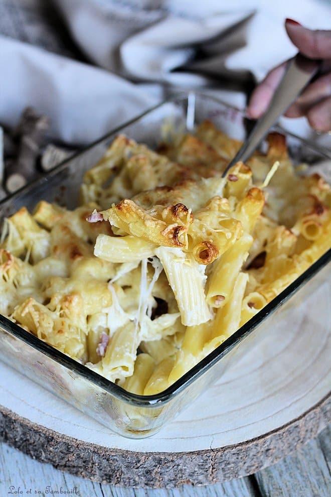 Gratin fondant de pâtes à la mozzarella & lardons
