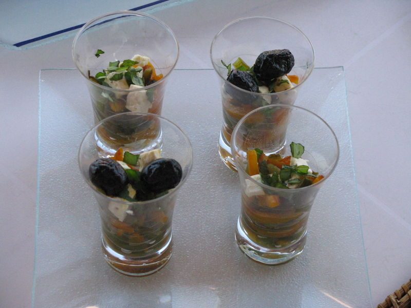 poivrons, feta, olives, verrines
