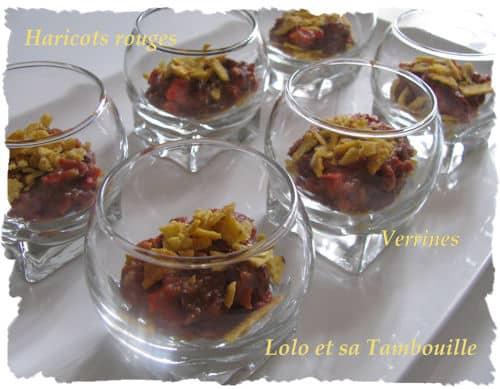 Verrines d'haricots rouges à la mexicaine