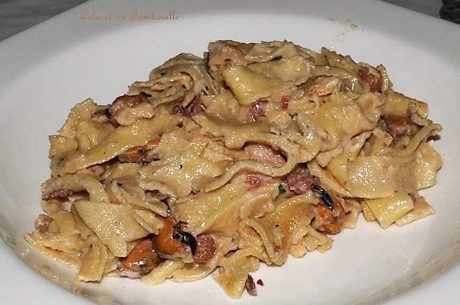Tagliatelles de crêpes aux fruits de mer