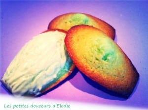 Madeleines pistache coques glaçage au chocolat blanc