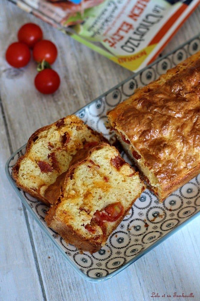 Cake aux tomates cerises & chorizo