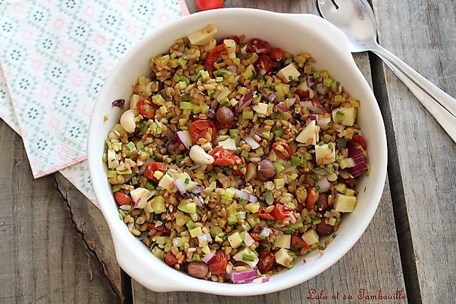 Salade de petit épeautre {tomates rôties, courgettes & graines}