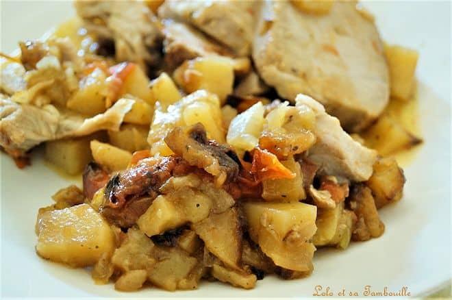 Rôti de porc aux tomates & pommes de terre
