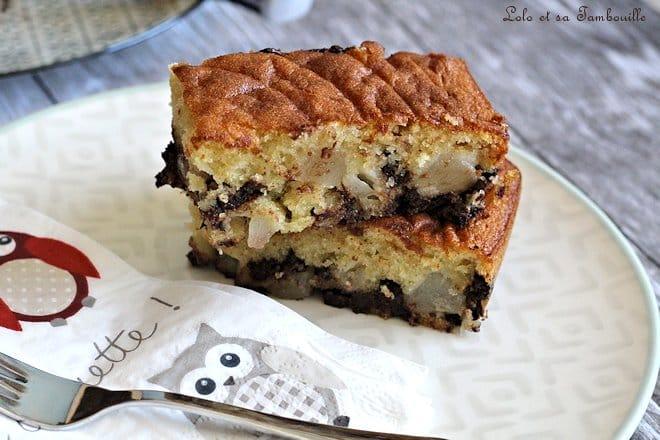 Gâteau moelleux poires & chocolat