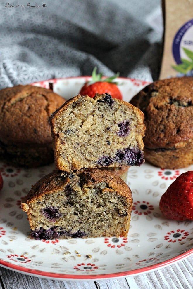 Muffins aux myrtilles & noisettes {aux blancs d'œufs}