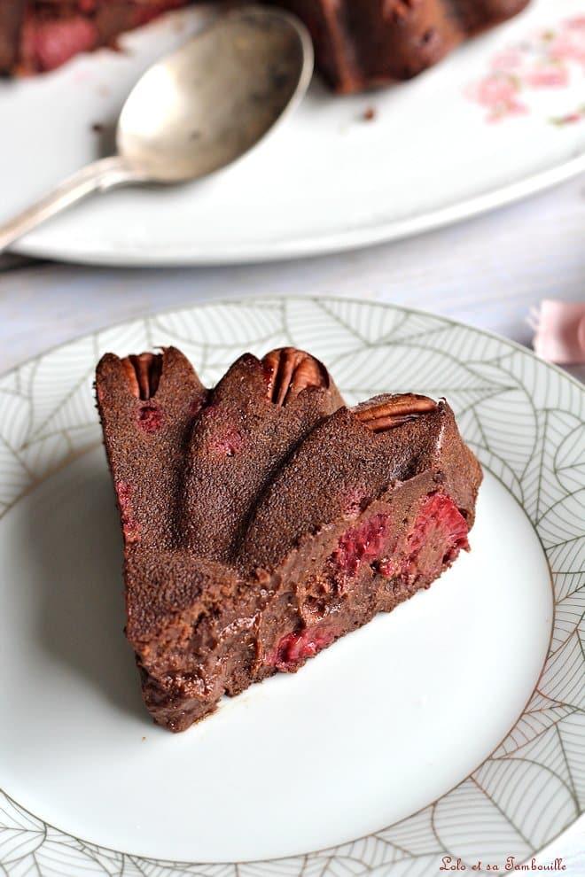 recette de brownie, chocolat, framboises