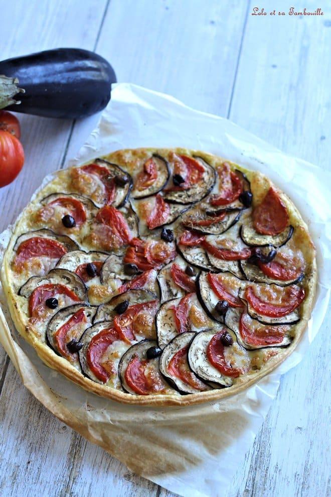 Tarte aubergine, tomate & mozzarella