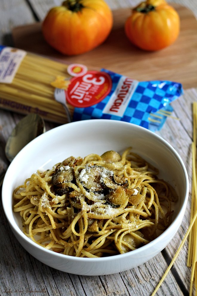 Spaghettis au pesto & légumes