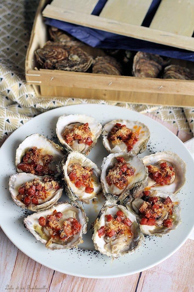 Huîtres gratinées au chorizo & parmesan