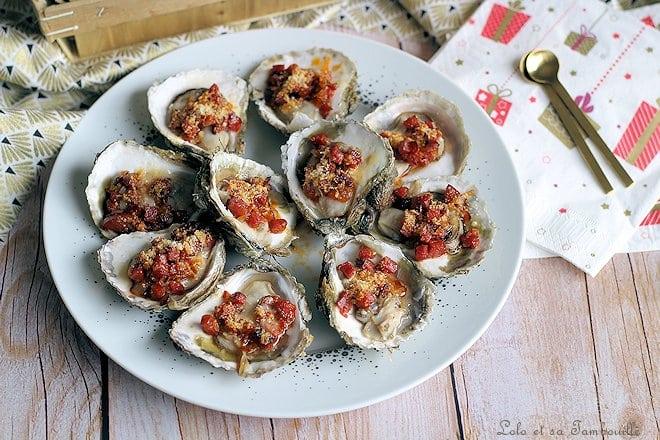 Huîtres gratinées chorizo parmesan