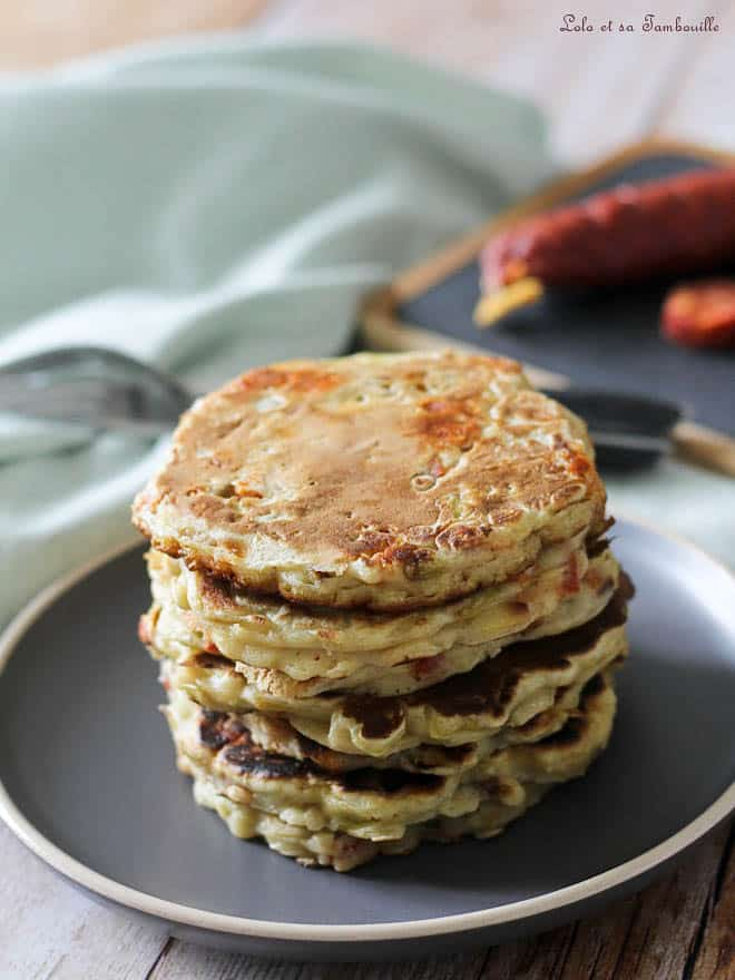 Pancakes aux poireaux & chorizo