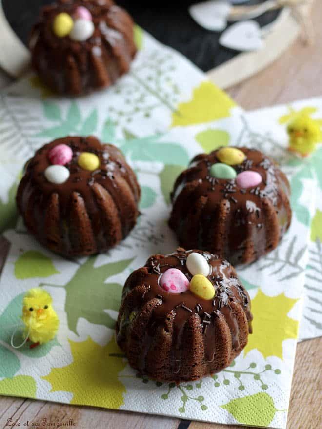 Moelleux nids de Pâques au chocolat