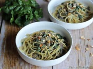Spaghettis épinards champignons