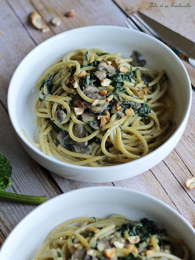 Spaghettis crémeux aux épinards & champignons