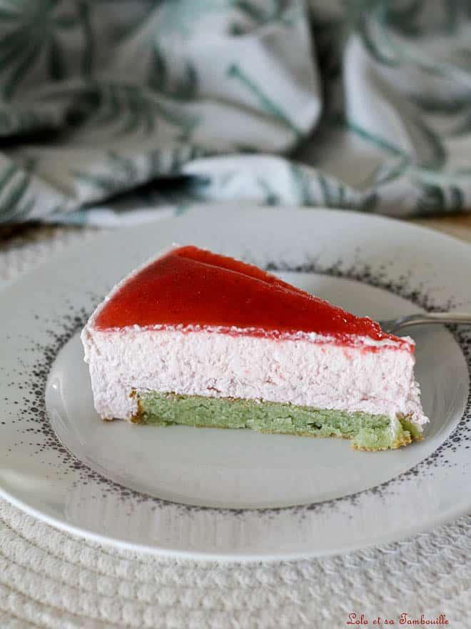 Entremets fraises & pistaches